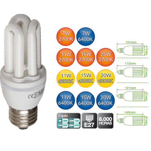 Grupo respira bombilla bajo consumo 11w 15w 20w 25 w 840 - Halogenos led bajo consumo ...