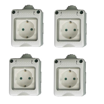 Grupo respira pack de 4 interruptor conmutador enchufe superficie estanco ip 55 - Enchufe exterior estanco ...